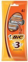 BIC станки одноразовые Bic3 Sensitive 4 шт (Коричневый пакет)