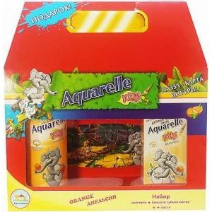 AQUARELLE KIDS Набор Апельсин Зубная паста, 50мл   Шампунь, 200мл   Книжка