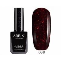ARBIX Гель-лак №038 Куршавель Бордо с красными блестками