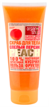 ORGANIC SHOP Фруктовая польза 100% скраб для тела Спелый персик 200 ml туба